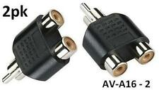 2pk RCA Plug to 2-RCA Jack Audio Video Splitter Adapter