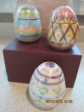 Hand Painted Ceramic Easter Egg Candles  Figural Colorful  SET OF 3