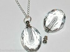 1pc. Glass Oval pendant cremation urn ashes perfume bottle Screw cap NECKLACE