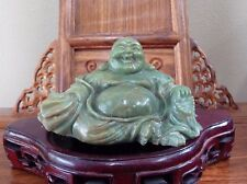 LARGE CHINESE GREEN GEMSTONE HAPPY LAUGH MAITREYA BUDDHA HAND CARVED -EXCELLENT