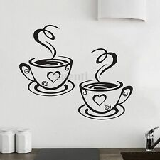 Coffee Cups Cafe Tea Wall Stickers Art Vinyl Decal Restaurant Pub Kitchen Decor