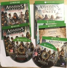 2x XBOX ONE XB1 GAMES ASSASSIN'S CREED UNITY + SYNDICATE DISCs V.Good CONDITION