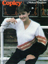 ~ Copley Knitting Pattern For Lady's V-Neck Mohair Sweater To Knit  ~