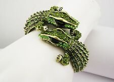 "Kenneth Jay Lane Double Alligator Bracelet ""Couture Collection"" MADE IN USA"