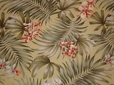 Trendtex Fern Orchids OLIVE Green Cotton Bark Crepe Drapery Upholstery Fabric