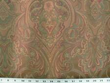 Drapery Upholstery Fabric Large-Scale Jacquard Floral - Copper / Green