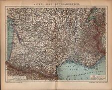 Landkarte map 1904: MITTEL- UND SÜDFRANKREICH maßstab: 1 : 2.780 000