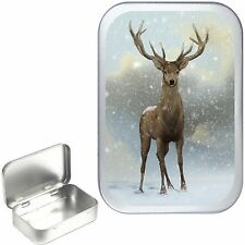 WINTER DEER SILVER HINGED 1oz TOBACCO TIN, 50ml TOBACCO TIN,PILL BOX