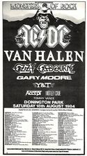 "Scheck11P5 advert 5x10"" 1984 Monsters of Rock Concert (Ac : Dc- Van Halen- Y & T"
