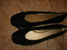 monsoon accessorize shoes bnwt black flat fabric size 3 eur 36 metallic thread