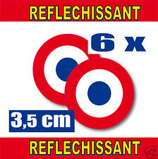 Cocarde RETRO REFLECHISSANTE FRANCE 6 stickers adhésifs rond Ø3,5cm lot de 6
