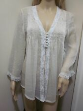 ADIVA Sheer SHIMMER lacey Chiffon Bell Sleeve Babydoll Tunic jacket BLOUSE TOP L