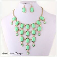 MINT GREEN FACETED BEAD GOLD STATEMENT BIB NECKLACE & EARRING SET