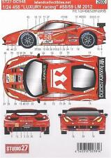 STUDIO27 1/24 FERRARI 458 GT2 LUXURY RACING #58, #59 LEMANS 2012 DECAL