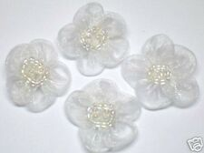 60 Organza Beaded Flower Appliques ~ White F003