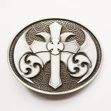 CELTIC CROSS IRISH SILVER MEDIEVAL GOTHIC BELT BUCKLE