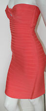 authentic Herve Leger pink coral Arabella strapless stretch bandage dress new m