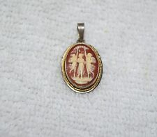 Antique 1890's Art Nouveau Sterling Silver Hand Carved Shell Cameo Pendant