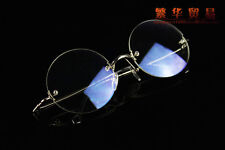 Retro Round Eyeglass frames new rimless Spectacles optical glasses silver RX