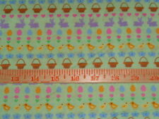 """1 7/8 yards Mini Baskets, Chicks, Easter Eggs, Flowers 100% Cotton Fabric- 44"""""""