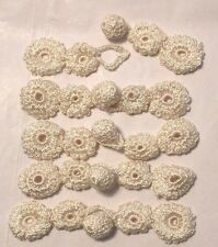 "4"" FROG Closures CROCHET FLOWERS ( 5 ) - IVORY SHEEN"