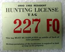 OHIO 1955 RESIDENT HUNTING LICENSE NO 227 FQ #a6