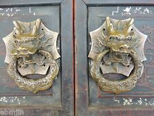 Vintage Feng Shui Bronze Foo Dog Kirin Door Holder Gate Knockers one Pair 6""