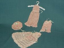 """VINTAGE 4 PIECE SET CROCHETED DOLL CLOTHING..FOR 6""""-7"""" DOLL.."""