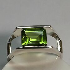Genuine 2ct Emerald Cut Peridot 925 Solid Sterling Silver Solitaire Ring sz 7.75
