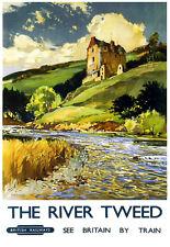 El río Tweed BR ver Gran Bretaña viajes tren ferroviario Ferrocarril cartel impresión
