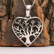 925 Sterling Silver Love Heart Tree Of Life Pendant Chain Necklace With Gift Box