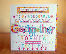 Godmother birthday card personalised. Special happy birthday Godmother card.