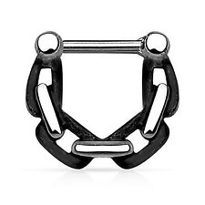 "14 Gauge 3/8"" Black Chain Linked Casted Septum Clicker Nose Piercing Septum Ring"