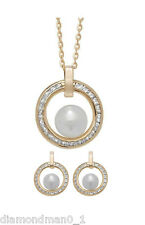 9ct Yellow Gold Necklace Complete with Pearl Center CZ Pendant Earring Set