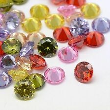50PCS Charm Diamond Loose Cubic Zirconia Lot Cabochons 2.5mm Faceted Mixed Color