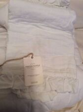 Restoration Hardware Baby & Child Frayed Ruffle Moses Bedding White NWT! Linen