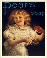 Pears Soap VINTAGE ENAMEL METAL TIN SIGN WALL PLAQUE