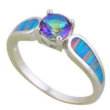 OR850 SZ 9 Mystic Topaz  Rings Silver Stamped Blue&Orange Fire Opal Fine Jewelry
