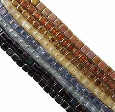Luster Mix 6mm 200pc Square Czech Czechmate Glass Two Hole Tile Beads