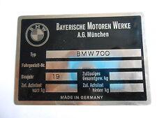 für BMW 700 Typenschild schild Id-plate s22
