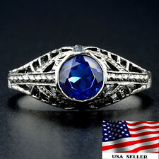 1CT Blue Sapphire 925 Solid Sterling Silver Art Deco Filigree Ring Sz 7