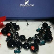 NWT~$450~SWAROVSKI~SWAN SIGNED BLACK BAUBLE LADYBUG CRYSTAL STATEMENT NECKLACE