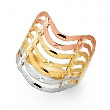 EJLRRG576 - Diamond cut 14K tricolor gold Semanario ring