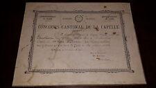 DIPLÔME 1er Prix d'Histoire  Géo - Concours Cantonal de La Capelle 1893 - Aisne