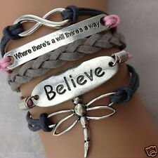 Cute Girls Charm Bracelet Infinity Believe dragonfly Friendship Leather Silver