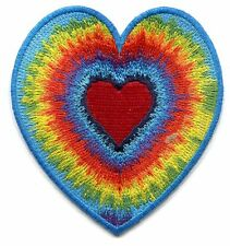 TIE DYE HEART Colorful Iron On PATCH **Free Shipping** love peace sixties hippie
