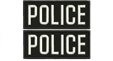 2 POLICE embroidery patches 2x5 velcro ON BACK