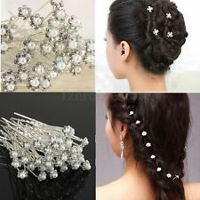 40PC Wedding Prom Party Bridal Crystal Pearls Diamante Hair Pins Clips Xmas Gift