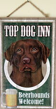 Chocolate Lab Sign Picture Dog Wood Plaque Home Decor Pet Animal Lover Bar