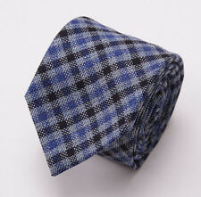 NWT $235 LUCIANO BARBERA Blue-Black Woven Check Wool-Silk-Linen Tie Handmade